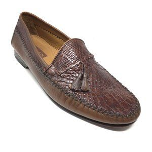 Mezlan Loafers Shoes Size 10.5 Brown Crocodile